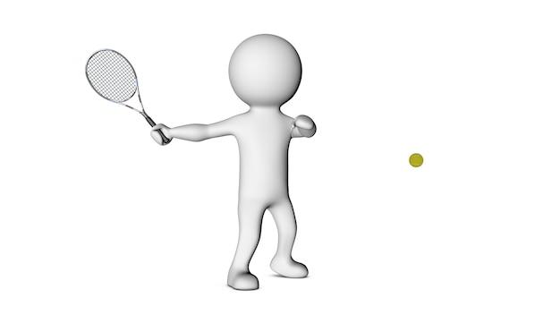 3d белый персонаж и теннис