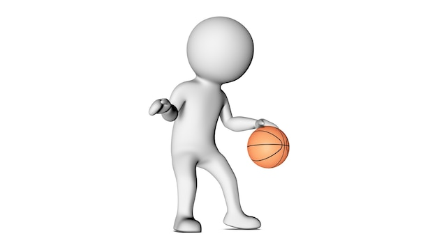 3d white character and basketball
