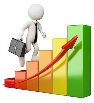 3d white character. businessman climbing a bar graph