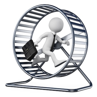 3d white character. businessman in a hamster wheel