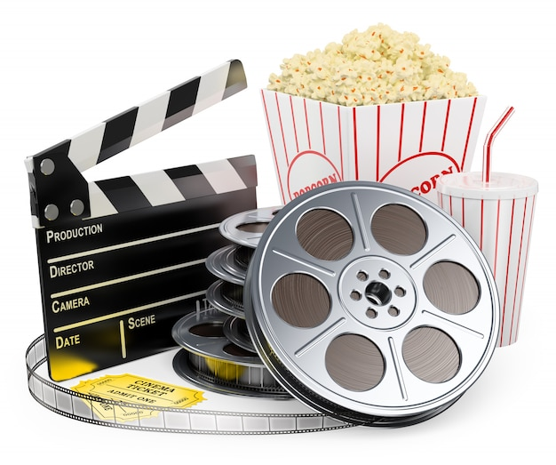 3d white character. cinema clapper film reel drink and popcorn