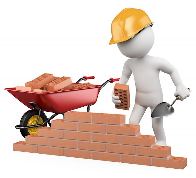 3dホワイトキャラクター。建設作業員