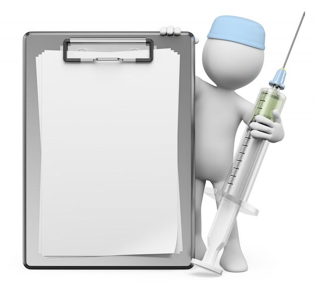 3dホワイトキャラクター。看護師の注射器と空のクリップボード