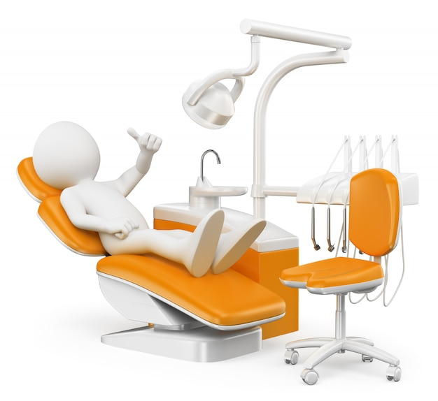 3d white character. patient at the dentist