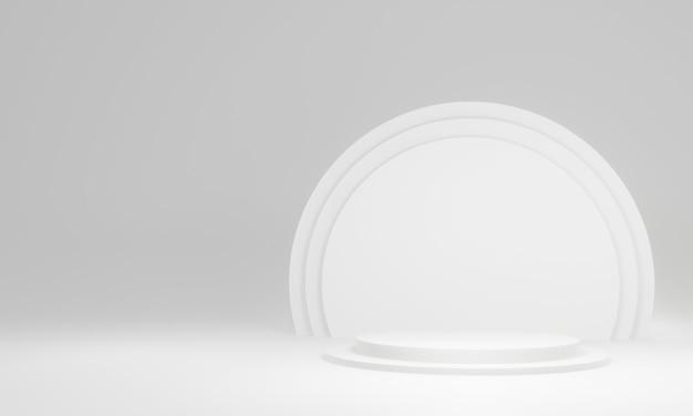 3d 흰색 원형 무대 연단