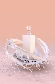 스플래시 우유 스킨케어 로션 모형 튜브 스킨케어 개념의 연단에 3d 흰색 화장품 병