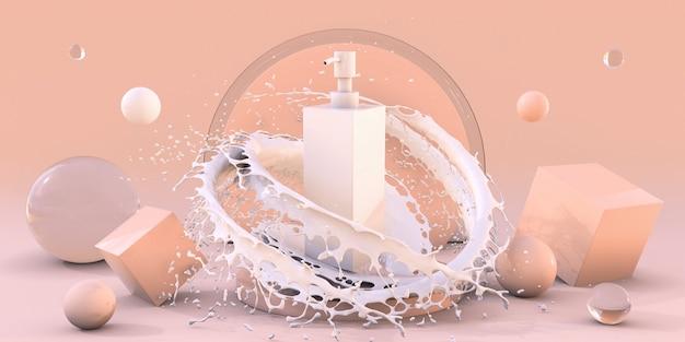 포장용 거품 스킨케어 제품 배너가 있는 스플래시 우유의 3d 흰색 화장품 병 연단