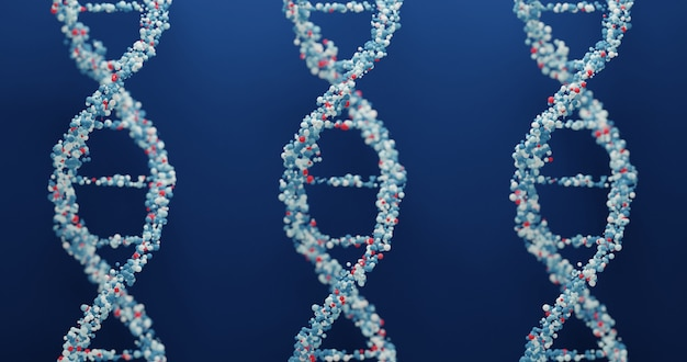 3d white dna structure on a navy blue background. scientific medical background and healthcare technology for presentation, cover or advertisement.