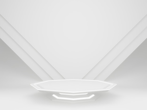 3d white futuristic product stand with neon light
