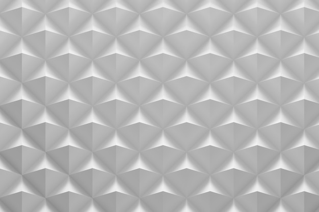 3d white geometric pattern with repeating pyramidal tiles