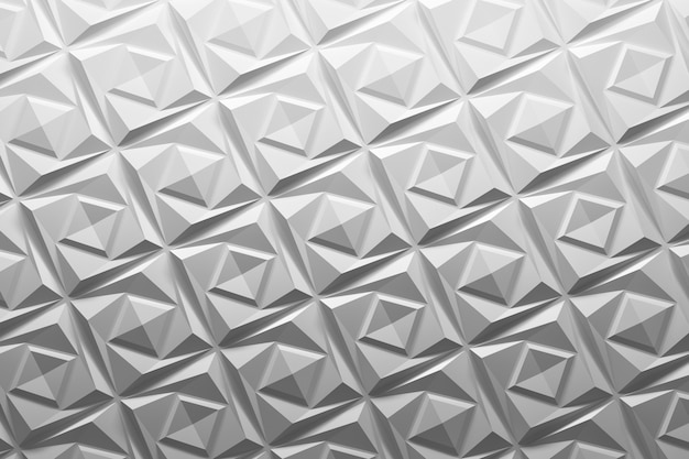 3d white geometric pattern with repeating triangles
