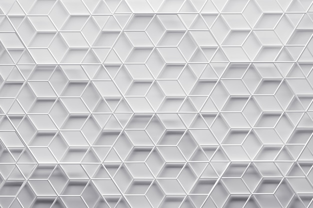3d white geometric pattern with wireframe of hexagon layers
