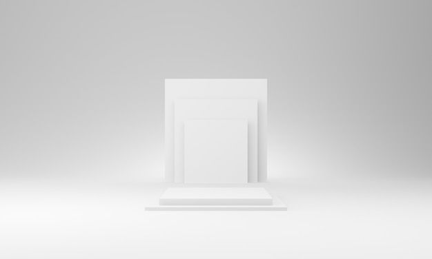 3d белый геометрический макет сцены