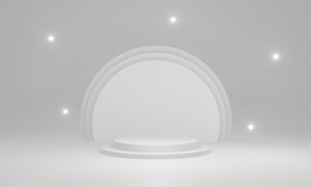 3d white geometric stage mockup