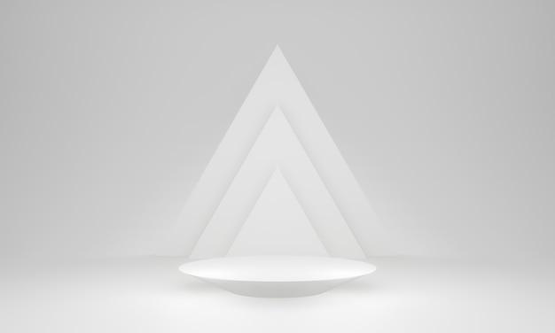 3d 흰색 기하학적 무대 연단