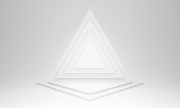 3d 흰색 기하학적 삼각형 단계.