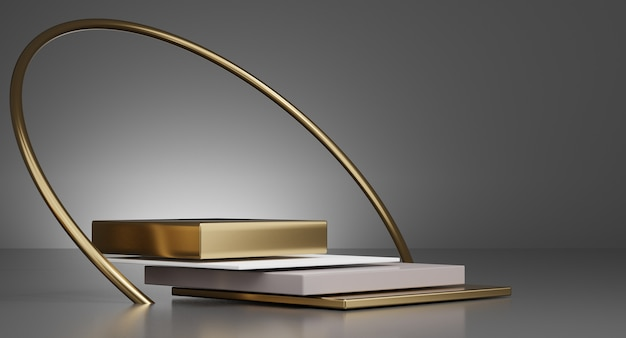 3d white and gold minimal podiums, pedestals, steps on the background and a round gold frame. mock up. 3d rendering.