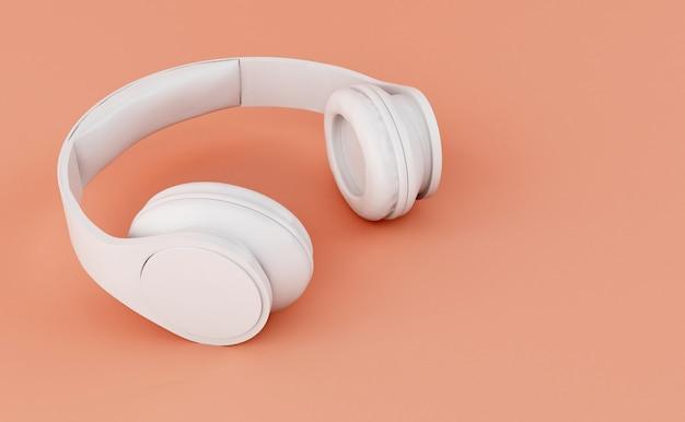 3d white headphones