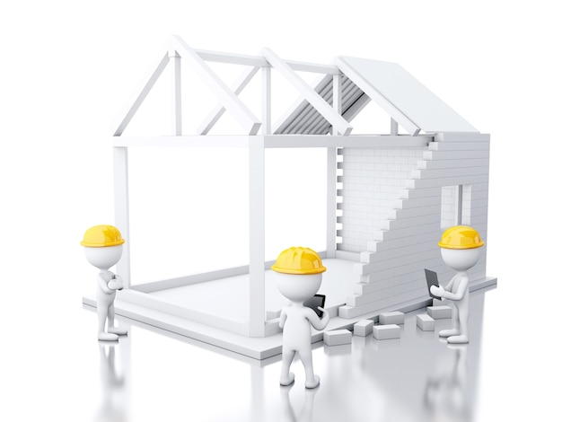 3d white house under construction with builders