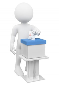 3d white man putting his ballot paper in a ballot box