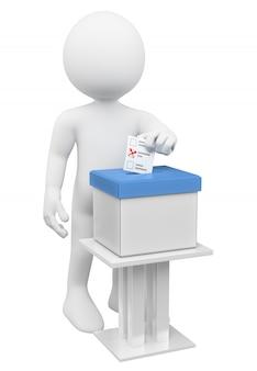 3d белый человек кладет свой избирательный бюллетень в урну