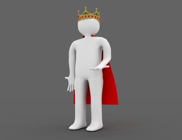 Белый человек 3d с короной. 3d визуализированная иллюстрация