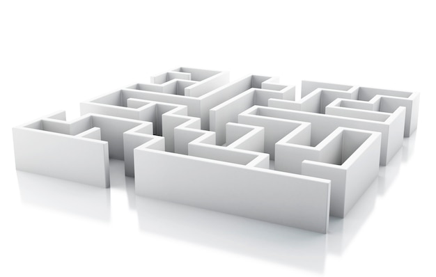 3d white maze. isolated white background.