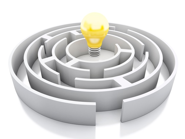 3d white maze with light bulb icon.