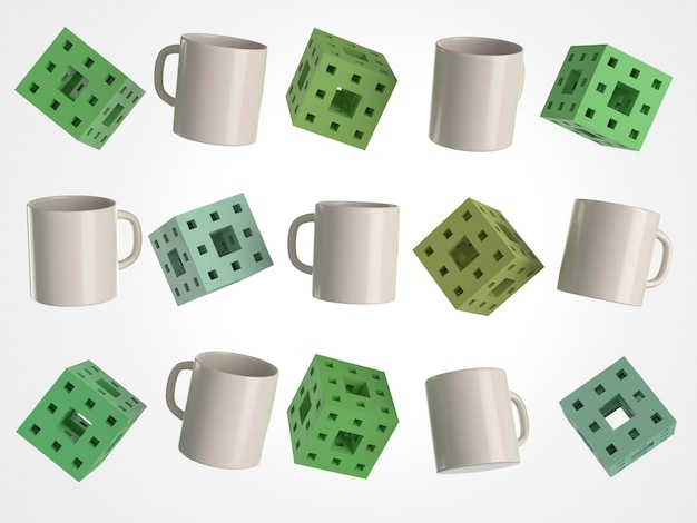 3d white mugs and cubes with holes