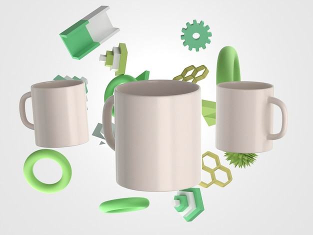 3d white mugs front view