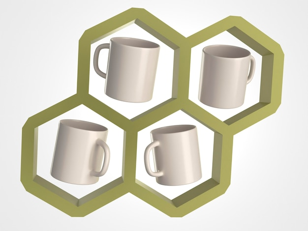 3d white mugs in a honeycomb