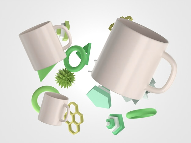 3d white mugs and various objects