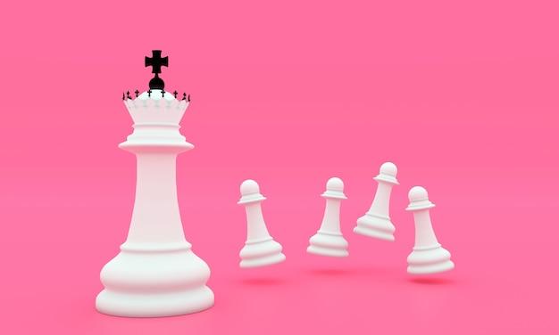 3d 흰색 폰과 킹 체스 조각