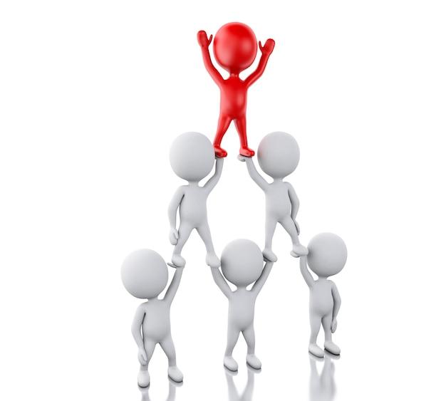 3d 백인들과 리더십. 팀 작업 및 리더십 개념입니다.