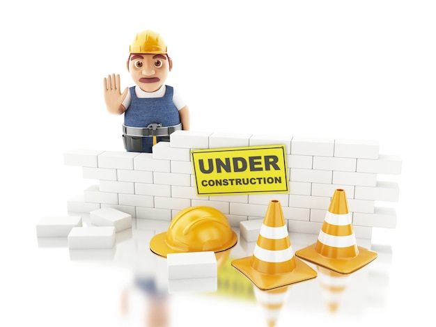 3d white people building a brick wall.