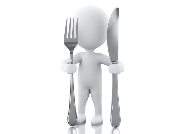 3d白人フォークとナイフのシェフ。