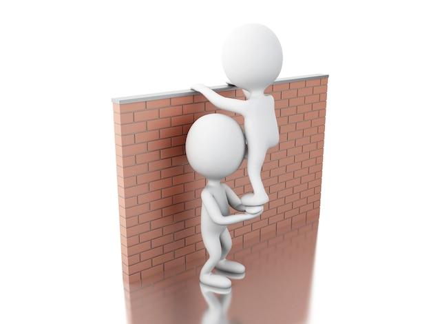 3d white people climbing a brick wall