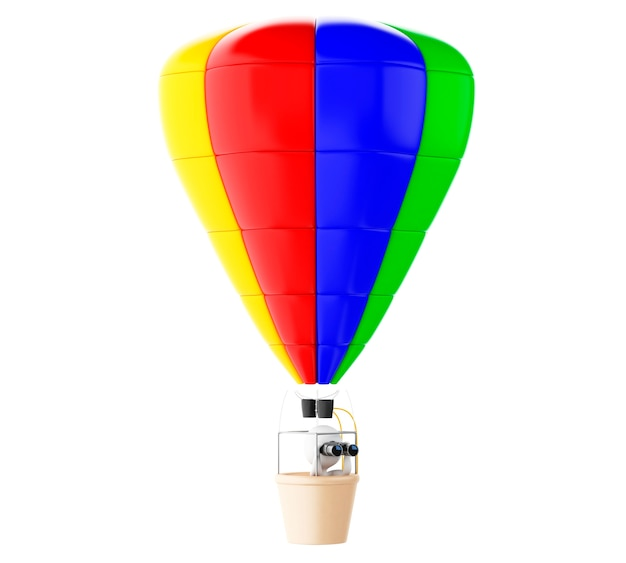 3d white people on colorful hot air ballon with binoculars.
