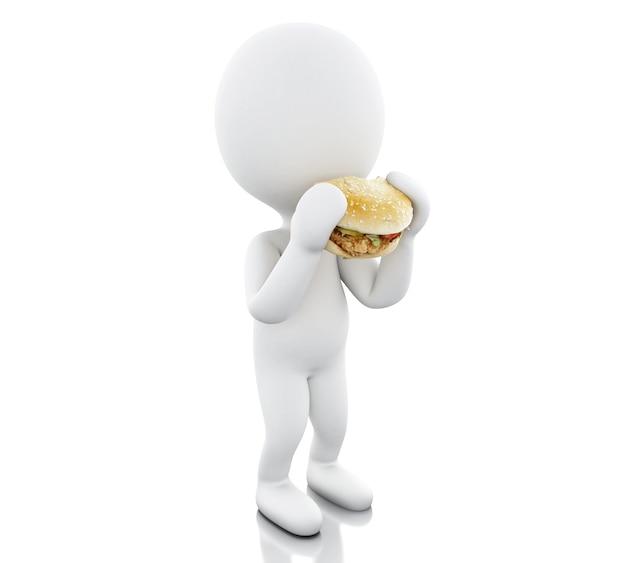 3d白人は大きなハンバーガーを食べる。
