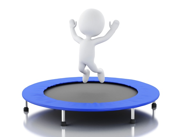 3d white people, happy jumping for the success in trampoline.
