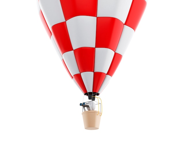 3d white people on hot air ballon with binoculars.