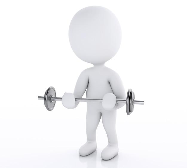 重い重量を持ち上げて3d白人。ジムコンセプト