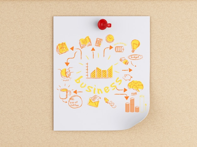 3d white people and post-it notes with business sketch