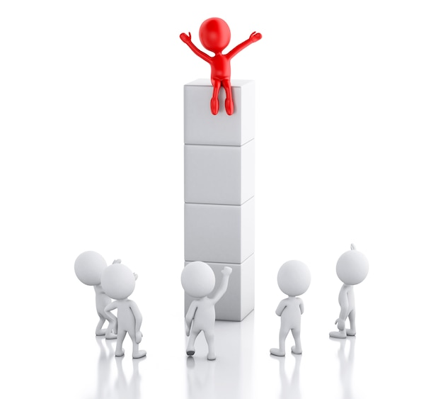 3d white people and red man. success and leadership concept. Premium Photo