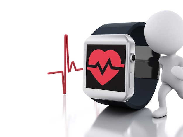 3d white people and smart watch with red health icon.