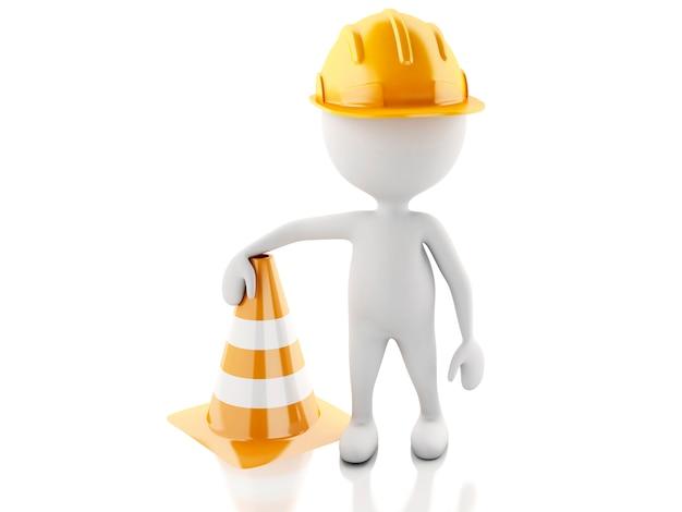 3d白人の人々はヘルメットと交通コーンで標識を停止します。