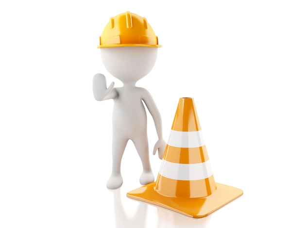 3d white people stop sign with helmet and traffic cones.