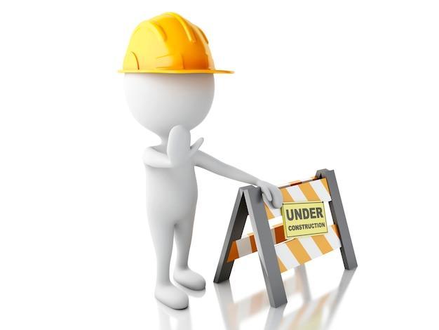 3d白人の人々はヘルメットと標識を停止します。建設中のコンセプト。