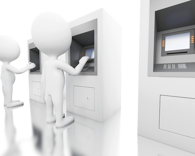 3d white people with atm machine