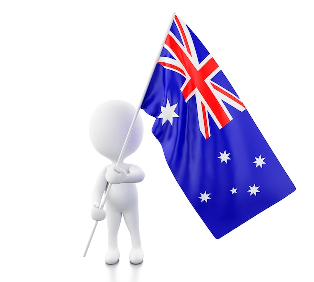 3d white people with a australia flag.